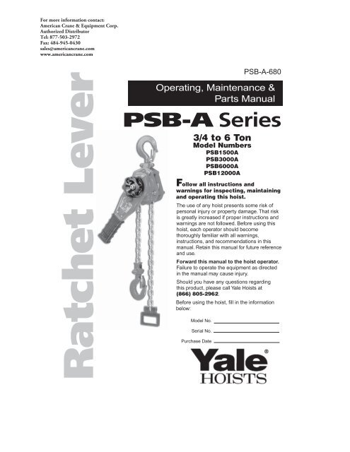 PSB-A Series - Products On American Crane & Equipment Corp