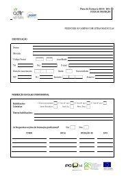 Plano de Formação 2010 / 2011 FICHA DE INSCRIÇÃO 1 ...
