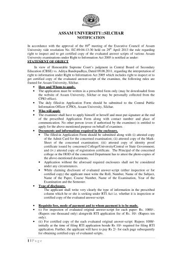 Notification Regarding Evaluation of Answer scripts - Assam University