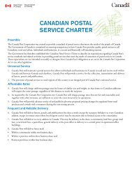 CANADIAN POSTAL SERVICE CHARTER - Transports Canada
