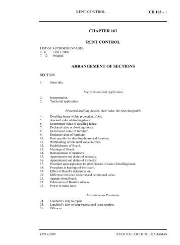 Rent Control Act - The Bahamas Laws On-Line