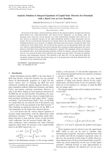 Analytic Solution to Integral Equations of Liquid State Theories for ...