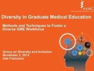 Diversity in Graduate Medical Education - AAMC's member profile