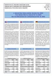 L'industrie horlogere suisse et mondiale en 2003 - Federation of the ...