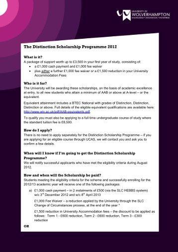 The Distinction Scholarship Programme 2012