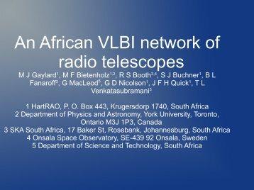 African VLBI network - Hartebeesthoek Radio Astronomy Observatory
