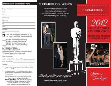 2012 Oscar Gala – Sponsorship Brochure - TheFilmSchool