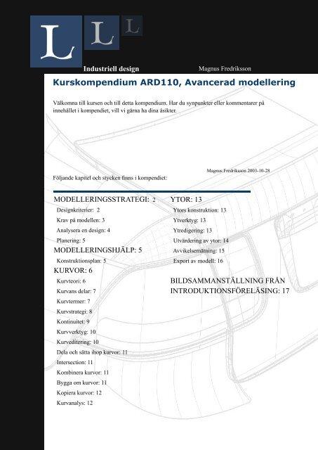 Kurskompendium ARD110, Avancerad modellering - Zoomin