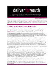 1. Tell Us: What Have You Been Working On? - Women Deliver