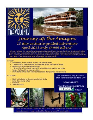 Journey up the Amazon - travelonlyvacations