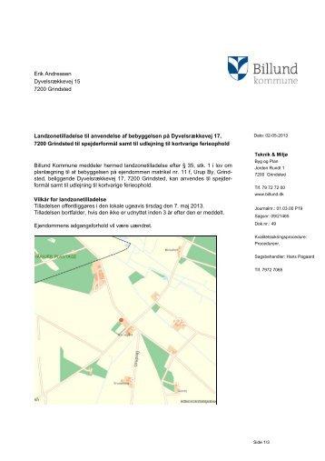 Landzonetilladelse, anvendelse af ejendom til ... - Billund Kommune