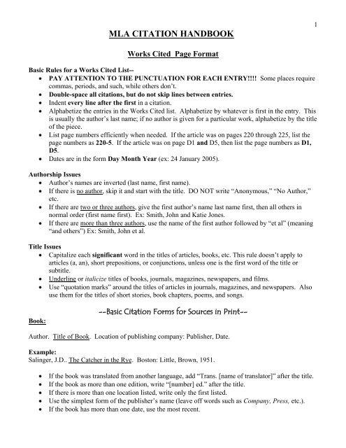 MLA CITATION HANDBOOK - Kent School District