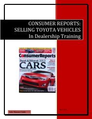 CONSUMER REPORTS: SELLING TOYOTA VEHICLES