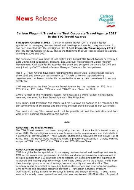 Media Release CWT wins TTG Award for Best Corporate Trav