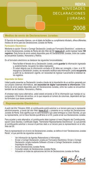 novedades declaraciones juradas - Servicio de Impuestos Internos