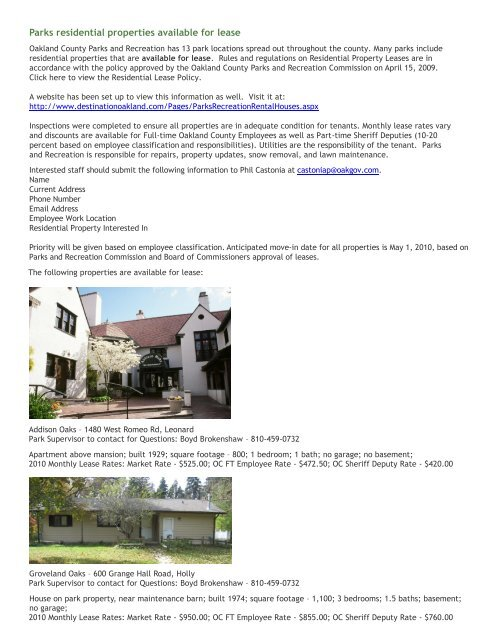 OCP Rental Properties Listing 2010 - Destination Oakland
