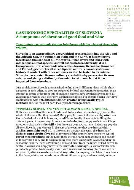 GASTRONOMIC SPECIALITIES OF SLOVENIA A sumptuous ...
