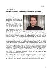 Markus Kurth Bewerbung um die Kandidatur im Wahlkreis Dortmund I