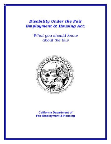 Disability Under the Fair Employment and Housing Act - DFEH