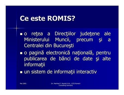ROMIS – pagina electronică