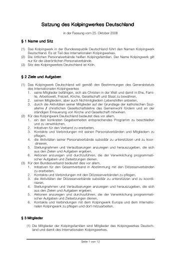 Satzung des Kolpingwerkes Deutschland - Kolpingjugend ...