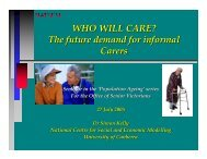 WHO WILL CARE? - NATSEM - University of Canberra