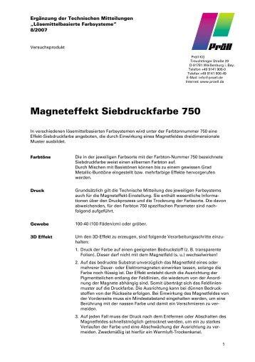 Magneteffekt Siebdruckfarbe 750  - Pröll KG