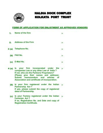 form of application for enlistment as approved vendors - Haldia Dock ...