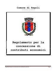 Regolamento per la concessione di contributi ... - Comune di Ragoli