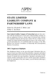 state limited liability company & partnership laws - Aspen Publishers