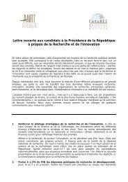 Lettre ouverte aux candidats à la Présidence de la ... - ANRT