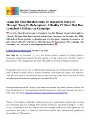 Learn The Final Breakthrough To Transform Your Life Through 'Kung Fu Redemption', A Reality TV Show That Has Launched A Kickstarter Campaign