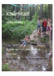 auf Burg Hohensolms für Kinder von 7—12 Jahren Vom 27.06 ...