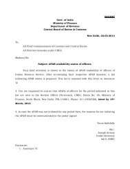 URGENT Govt. of India Ministry of Finance Department of Revenue ...