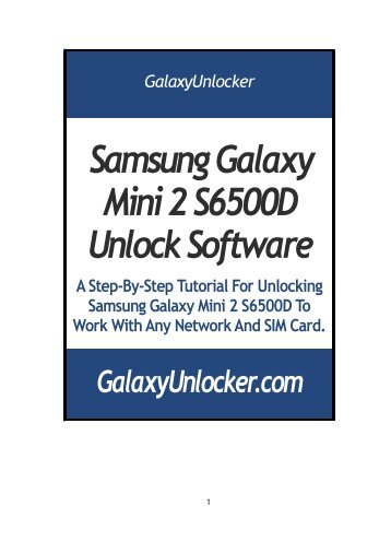 Samsung Galaxy Mini 2 S6500D Unlock Software - GalaxyUnlocker