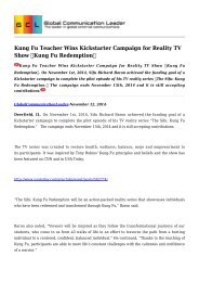 Kung Fu Teacher Wins Kickstarter Campaign for Reality TV Show Kung Fu Redemption
