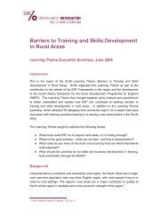 Barriers to Training and Skills Development in Rural Areas
