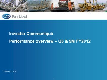 Investor Communique - Performance Overview ... - Punj Lloyd Group