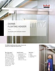 DORMA GLAS FLOATING HEADER