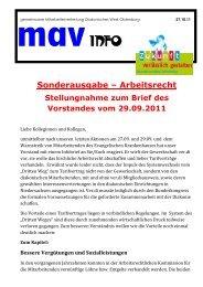 Sonderinfo Vorstandsbrief - Diakonie im Oldenburger Land