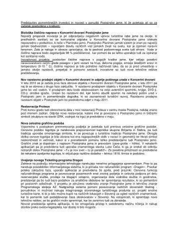 Predstavitev pomembnejših investicij in novosti v ponudbi - Slovenia