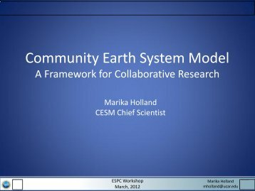 CESM Overview - Earth System Prediction Capability > Home