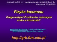 Instytut Problemów Jądrowych im. A.Sołtana - Pi of the Sky