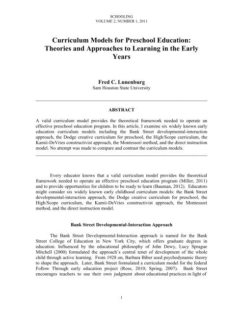curriculum models for preschool education  theories and approaches