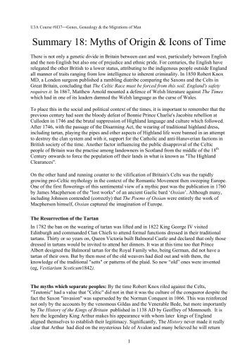 Summary 18 - Myths of Origin and Icons of Time