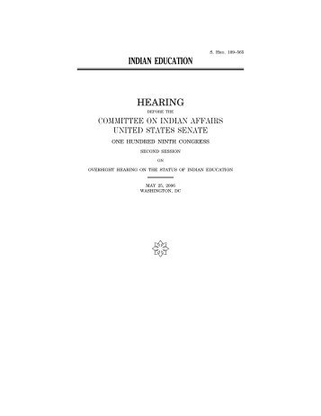 Hearing Transcript - US Senate Committee on Indian Affairs