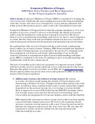 Ecumenical Ministries of Oregon 2009 Public Policy Priorities and ...