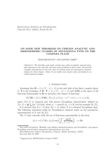 ON SOME NEW THEOREMS ON CERTAIN ... - Kjm.pmf.kg.ac.rs