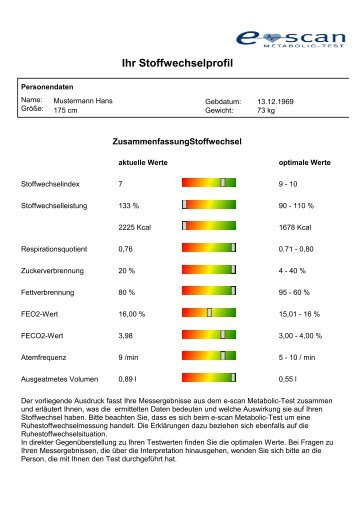 Musterauswertung - Metabolic-Coaching