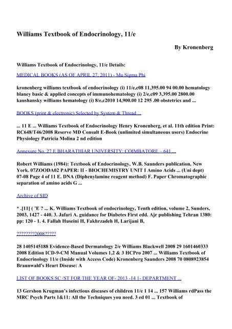 Download Williams Textbook Of Endocrinology 11 E Pdf Ebooks By
